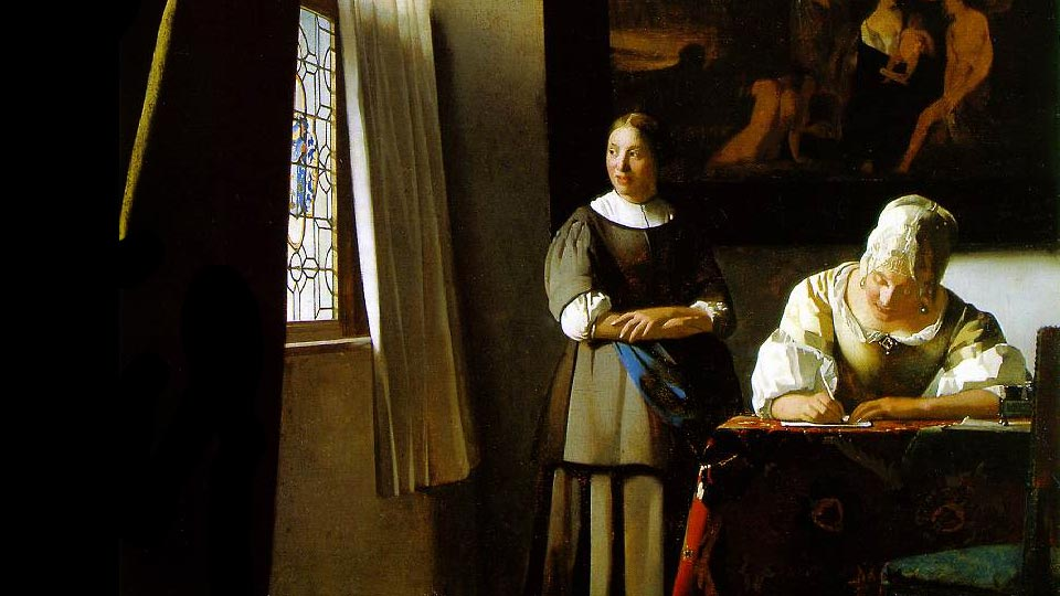 Lady Writing a Letter with her Maid   Johannes Vermeer